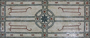 Centered Flower Motif Floor Rug Home Design Marble Mosaic CR1266