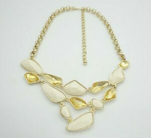 $250 Kenneth Jay Lane Cabochon Crystal Gold Tone Vintage Bib Statement Necklace