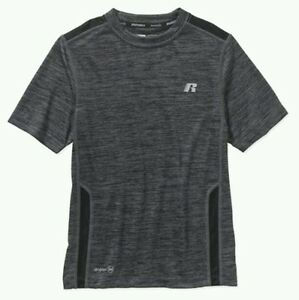 Russell Boys Short Sleeve Crew Neck Gray Black Compression Dri Fit T Shirts: S M $8.99
