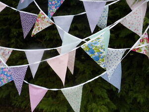 Fabric Bunting 40 Flags Wedding Shabby Handmade Floral Baby chic Garden Party