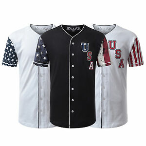 Mens longline t-shirt jeans Baseball Jersey USA Flag Button Down Baseball Jersey