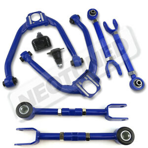 For 03-09 350z Z33 Blue Adjustable Front+Rear Upper Camber+Toe Traction Arm Kit
