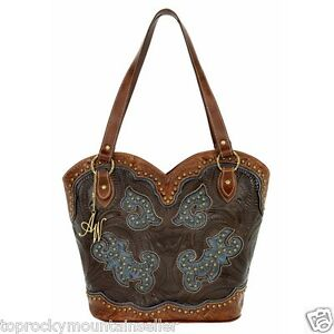 American West Boot Scoot Boogie Tooled Leather Handbag Purse Tote 8525560
