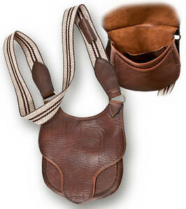 D SHAPED  LONGHUNTERS BAG BUFFALO LEATHER  SHOOTERS HUNTING BLACK POWDER