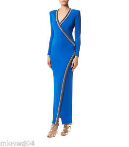 BALMAIN Crystal Embellished Blue Wrap Gown Dress BNWT 8 IT 40 FR 36 £2269