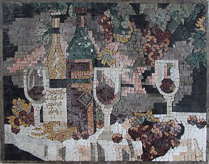 Archaic Ambiance Wine Grapes Vines Table Cloth White Made Marble Mosaic KB73