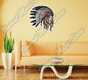 Native American Chief Indian Girl Gift Wall Sticker Room Interior Decor 22