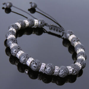 Men's Women Bracelet Braided 8mm Lava Rock Sterling Silver Buddhism Spacers 860