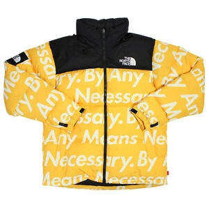 SUPREME X THE NORTH FACE NUPTSE JACKET BY ANY MEANS NECESSARY X-LARGE YELLOW