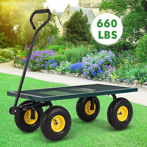660LBS Heavy Duty Utility Garden Wagon Nursery Cart Wheelbarrow Steel Trailer