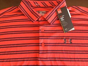 Under Armour  men's heatgear loose fit red striped polo shirt size 2XL NWT!
