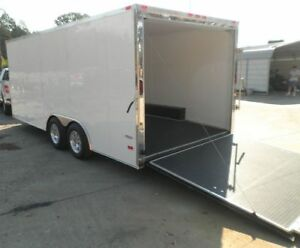 Enclosed Trailer 8.5#x27;x18#x27; White Car ATV Bike Hauler 3500 lb Axles