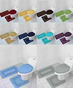 3PC EMBROIDERY BATHROOM SET BATHRUG CONTOUR TOILET LID COVER  ASSORTED COLORS