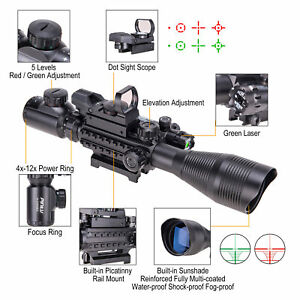 4-12X50EG Tactical Rangefinder Reticle Rifle scope Green Laser Sight