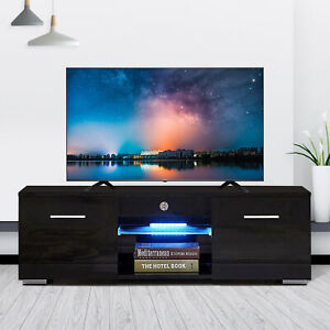 High Gloss Black TV Stand Unit Cabinet wLED Shelves 2 Drawers Remote Control