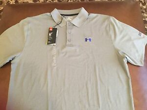 Under Armour  men's heatgear loose fit gray polo shirt size 2XL NWT!