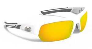 New!  Under Armour UA Big ShotShiny WhiteGray FrameOrange Multiflection Lens