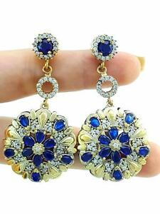925 STERLING SILVER SAPPHIRE EARRINGS TURKISH HANDMADE VICTORIAN JEWELRY R1201