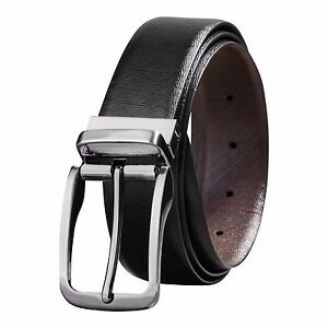 Savile Row Men's Reversible Leather Belt BlackBrown Classic & Fashion Designs
