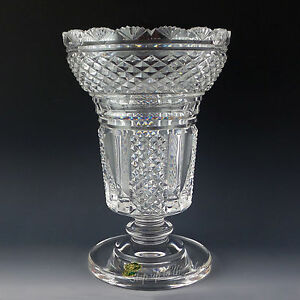 Waterford Crystal HIBERNIA Footed VASE Period Piece Master Cutter Statement