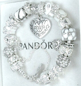 Authentic Pandora 925 Silver Charm Bracelet and European Charms Anniversary Wife