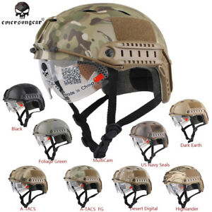 Tactical FAST Helmet with Protective Goggle Emerson Airsoft BJ 8818 - 9 Colors