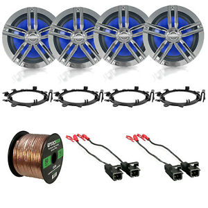4x 6.5 Water Resistant Speakers Speaker Wire Adapters GM 88 UP Harness $126.99