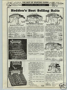 1937 PAPER AD Heddon#x27;s River Runt Spook Fishing Lure Store Display Box Jointed