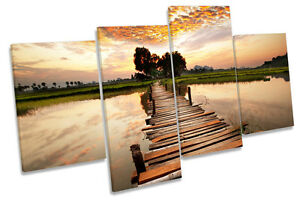 Tropical Sunset Bridge River CANVAS WALL ART MULTI  Box Framed