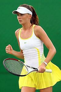 NIKE~NWT~FIT DRY~AVIA *DANIELA HANTUCHOVA* YELLOW PLEATS TENNIS DRESS~L (RARE)