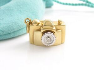 Tiffany & Co 18K Yellow Gold Diamond Camera Charm Pendant 4 Necklace  Bracelet