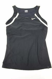 A4896 Womens NIKE FIT DRY BlackWhite Stretch ATHLETIC TANK TOP Shirt SMALL