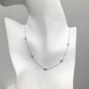 1 Ct Diamond By The Yard 5 Station Choker Necklace 14k Gold 14