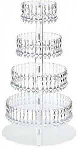 5 Tier Round Acrylic Cupcake Tower Stand W Hanging Crystal Party stand wedding