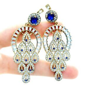 TURKISH 925 STERLING SILVER SAPPHIRE EARRINGS HANDMADE VICTORIAN JEWELRY R2524