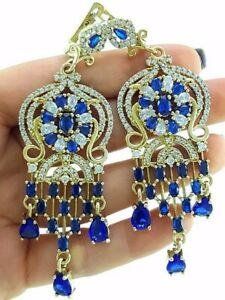 TURKISH 925 STERLING SILVER SAPPHIRE EARRINGS HANDMADE VICTORIAN JEWELRY R2534