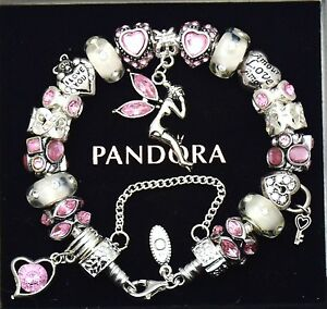 Authentic Pandora Bracelet Silver with Pink Fairy Mom Wife European Charms New