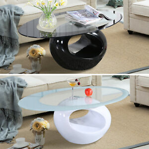 Modern Glass Oval Coffee Table Contemporary Modern Design Living Room Furniture