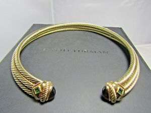 David Yurman 14K Solid Gold Amethyst & Green Tourmaline Choker Necklace