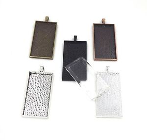25X50mm pendant trays with glass Silver Bronze Copper Black Antique Silver
