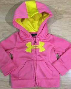 Under Armour Full Zip Hoodie Baby Toddler Size 6-9 Months Pink And Yellow