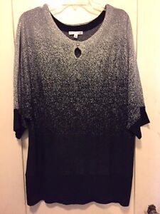 Lovely Notations Black Silver Lurex Glitzy Pullover Sweater Top NWT 1X