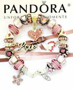 Pandora Bracelet Silver Mom Wife Pink Love Heart European Charms New