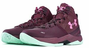 NEW Youth Under Armour Steph Curry 2 Dark Maroon Mid 1270817-601 Pink Kids GS SC