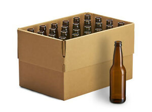 12oz Crown Cap Amber Longneck Beer Bottles case of 24