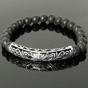 Men's Bracelet 8mm Lava Rock 925 Sterling Silver Lotus Charm DIY-KAREN 1030M