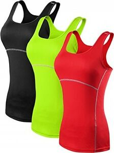 Neleus Women's 3 Pack Dry Fit Compression Long Tank Top Athletic Shirts3