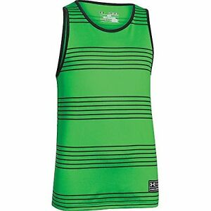 Under Armour Boys Green & Black Heenalu Tech Tank Top Size Extra Large   NWT