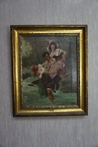 Signed A Domtus Antique Painting of 2 Women With Man $425.00