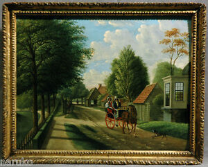 NEW HAMPSHIRE TOWN SCENE OIL PAINTING  DONE BY EDWARD LAMSON HENRY DTD 1869